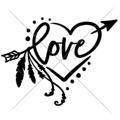 Love Arrow With Feathers And Heart Svg Png Dxf Eps Svg Dxf Png Cutting File