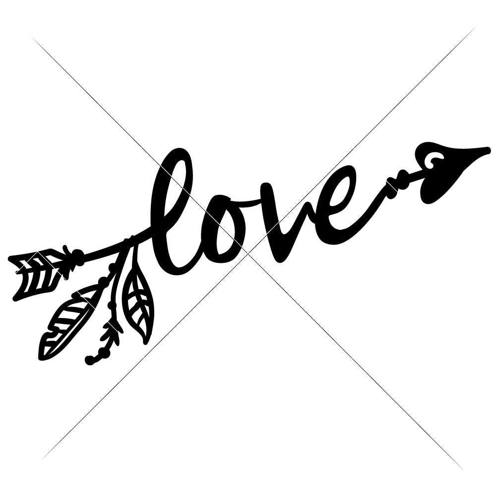 Love Arrow With Feathers Svg Png Dxf Eps Chameleon Cuttables Llc