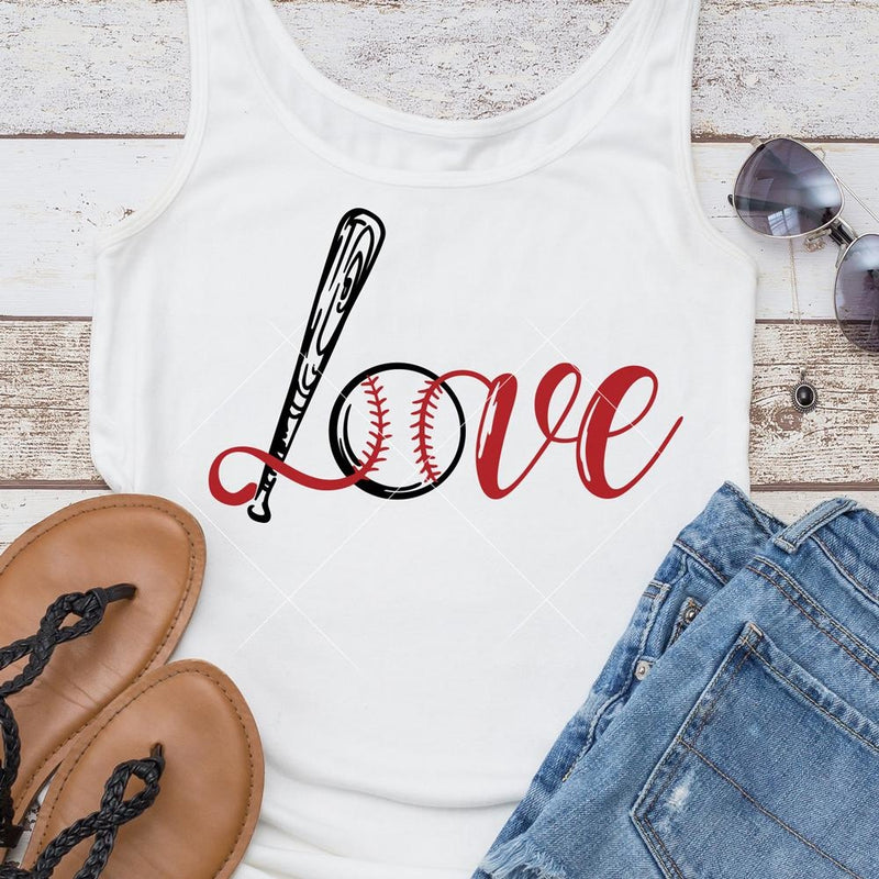 Love Baseball Bat Ball svg png dxf eps SVG DXF PNG Cutting File