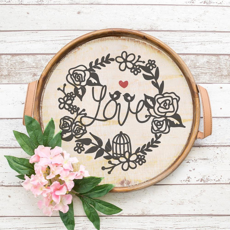 Love Birds Wreath Svg Png Dxf Eps Svg Dxf Png Cutting File