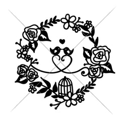 Love Birds Wreath With Heart Svg Png Dxf Eps Svg Dxf Png Cutting File