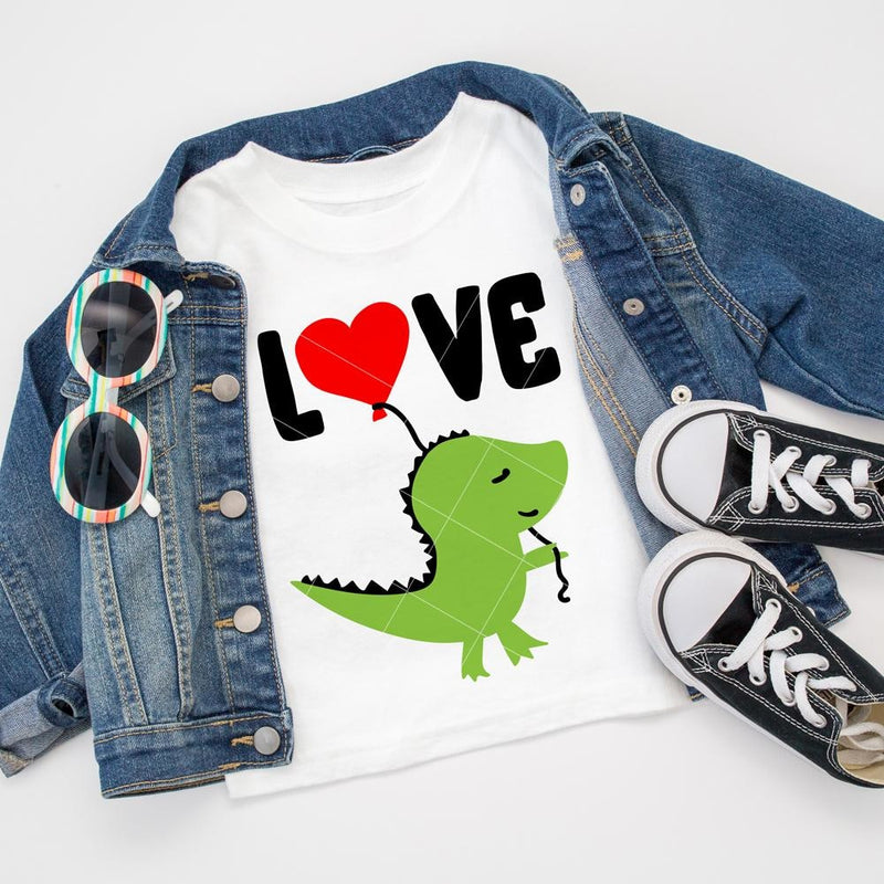 Love Dinosaur With Balloon Svg Png Dxf Eps Svg Dxf Png Cutting File