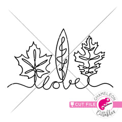 love fall leaves line art svg png dxf eps jpeg SVG DXF PNG Cutting File