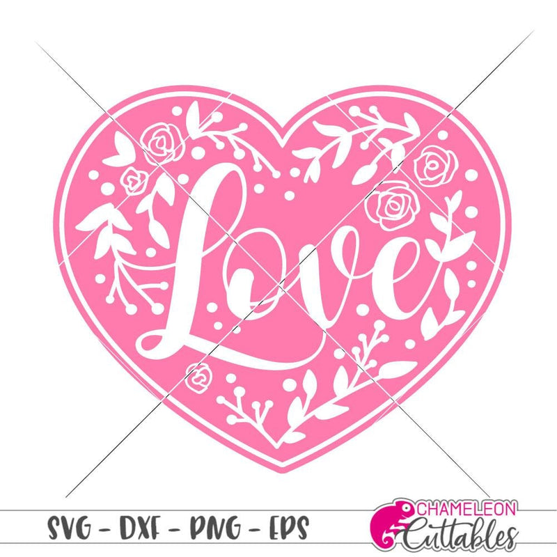 Love Floral Heart Svg Png Dxf Eps Svg Dxf Png Cutting File