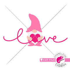 Love gnome with heart Valentines day svg png dxf eps jpeg SVG DXF PNG Cutting File
