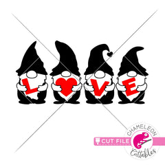 Love gnomes with letters Valentines day black svg png dxf eps jpeg SVG DXF PNG Cutting File