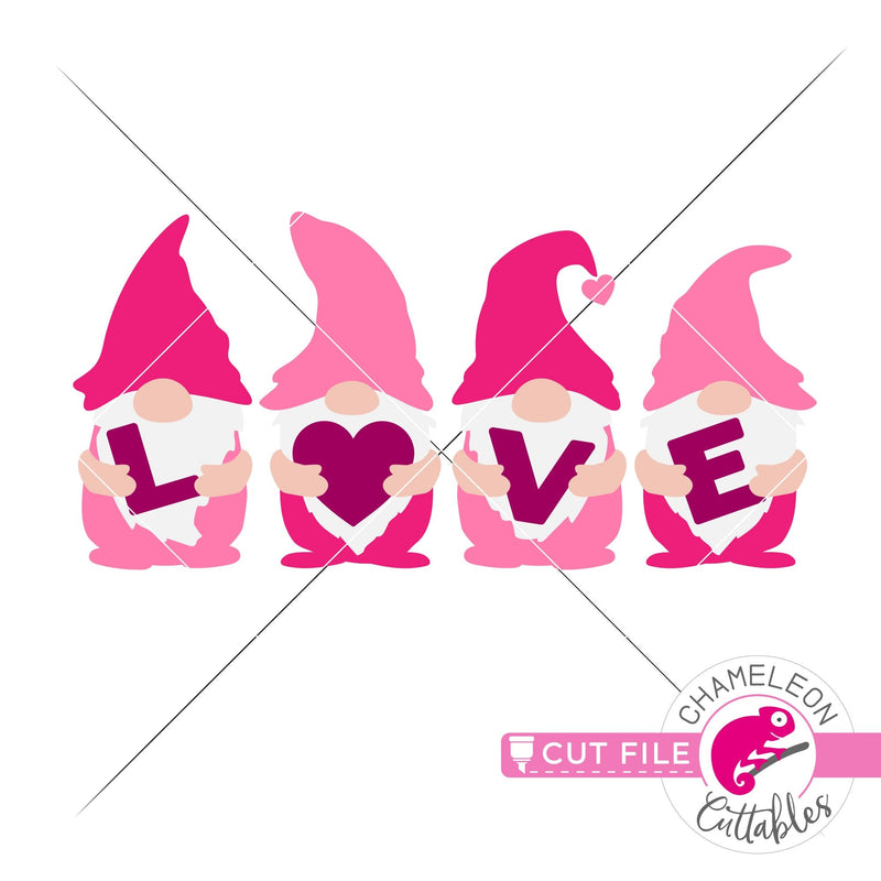 Love gnomes with letters Valentines day svg png dxf eps jpeg SVG DXF PNG Cutting File