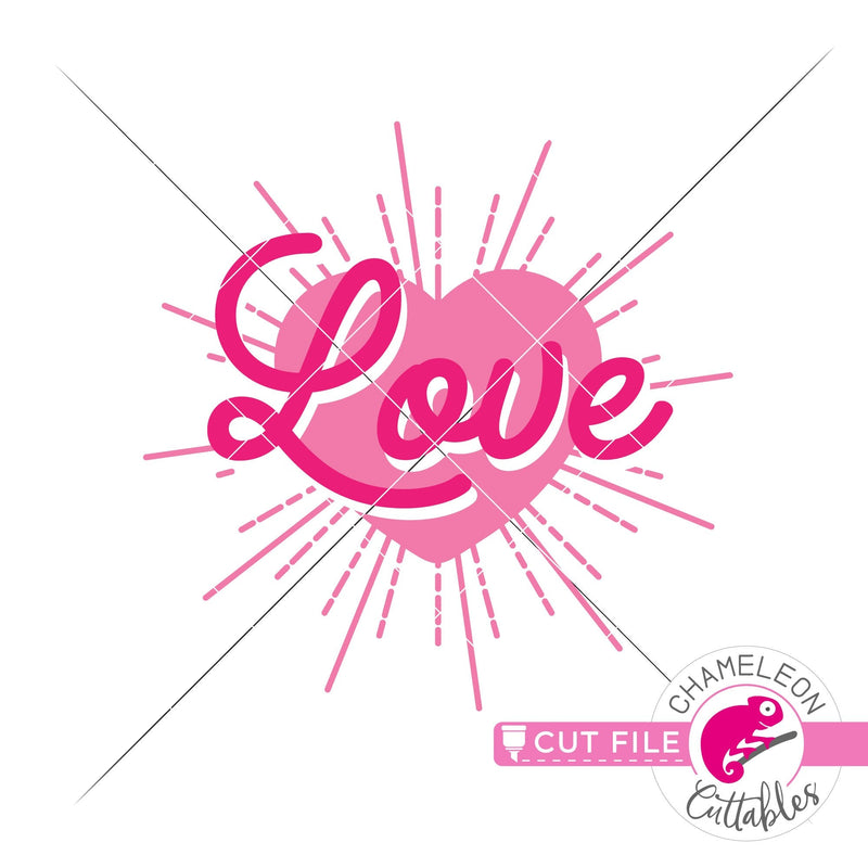 Love Heart with Rays svg png dxf eps jpeg SVG DXF PNG Cutting File