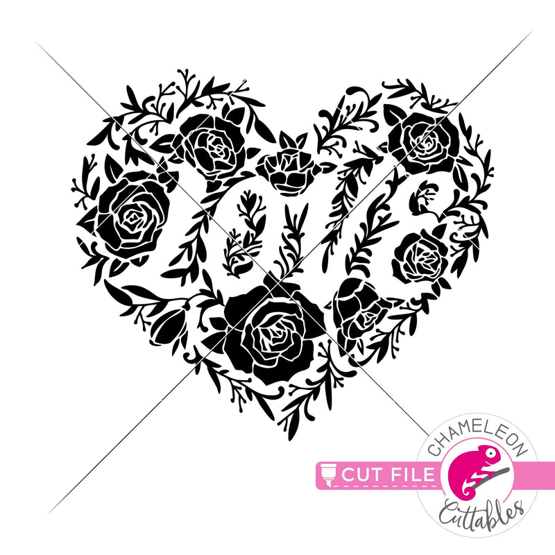 Love heart with roses knockout svg png dxf eps jpeg SVG DXF PNG Cutting File
