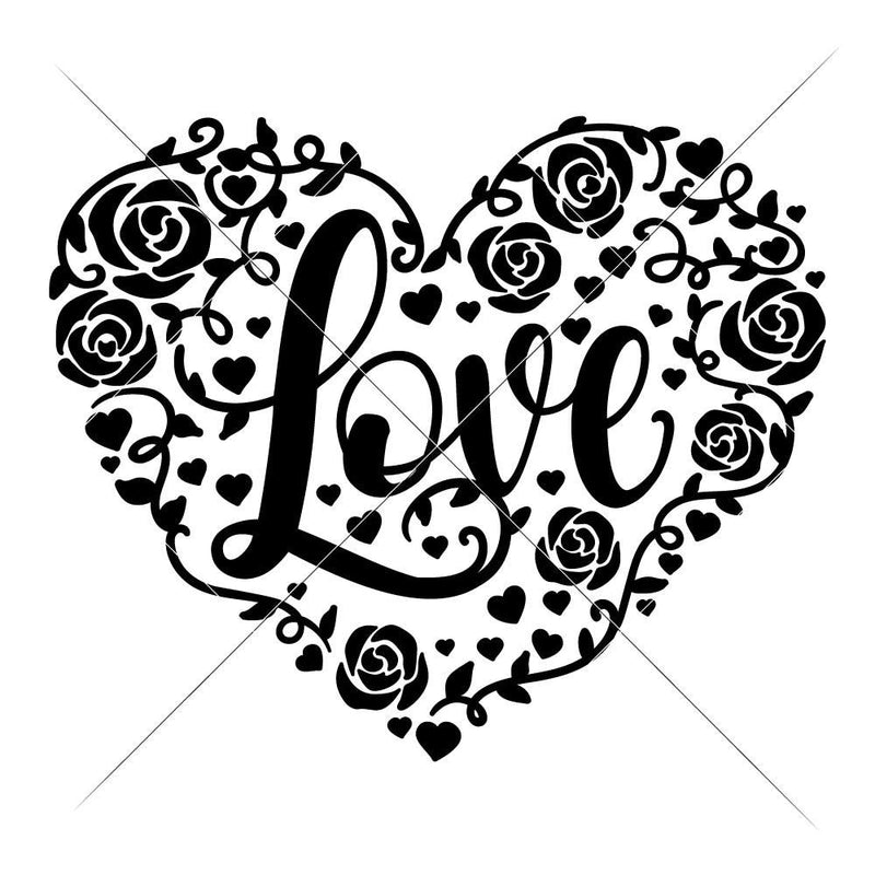 Love Heart With Roses Svg Png Dxf Eps Svg Dxf Png Cutting File