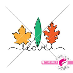 love leaves line art layered svg png dxf eps jpeg SVG DXF PNG Cutting File