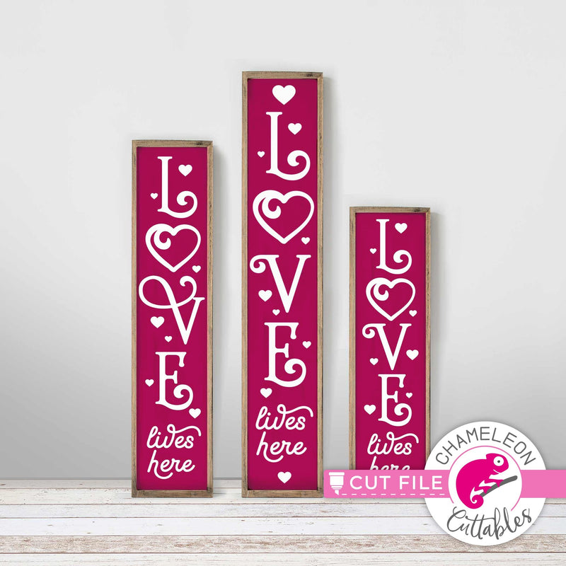 Love lives here vertical svg png dxf SVG DXF PNG Cutting File