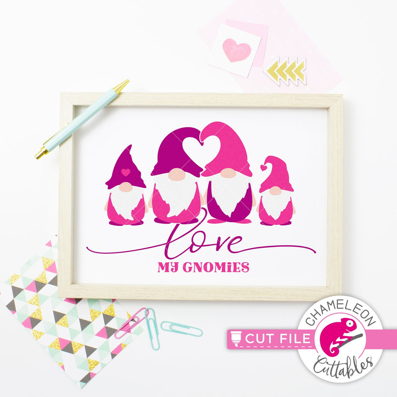 Love my gnomies gnome family 4 Valentines day black svg png dxf eps jpeg SVG DXF PNG Cutting File