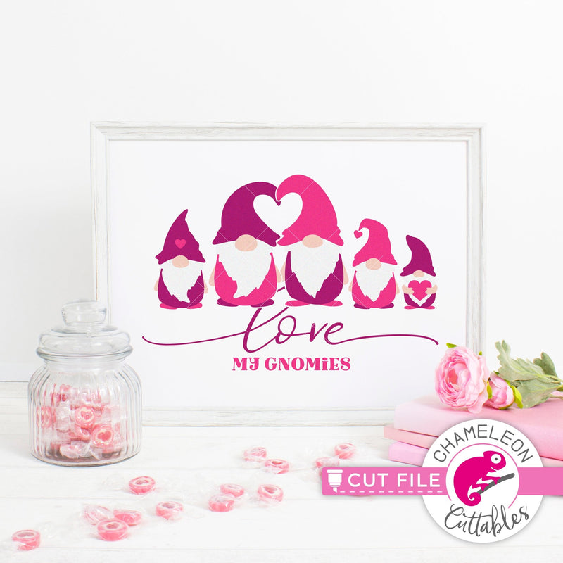 Love my gnomies gnome family 5 Valentines day black svg png dxf eps jpeg SVG DXF PNG Cutting File