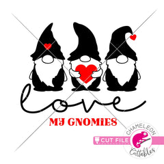 Love my gnomies gnome Valentines day black svg png dxf eps jpeg SVG DXF PNG Cutting File