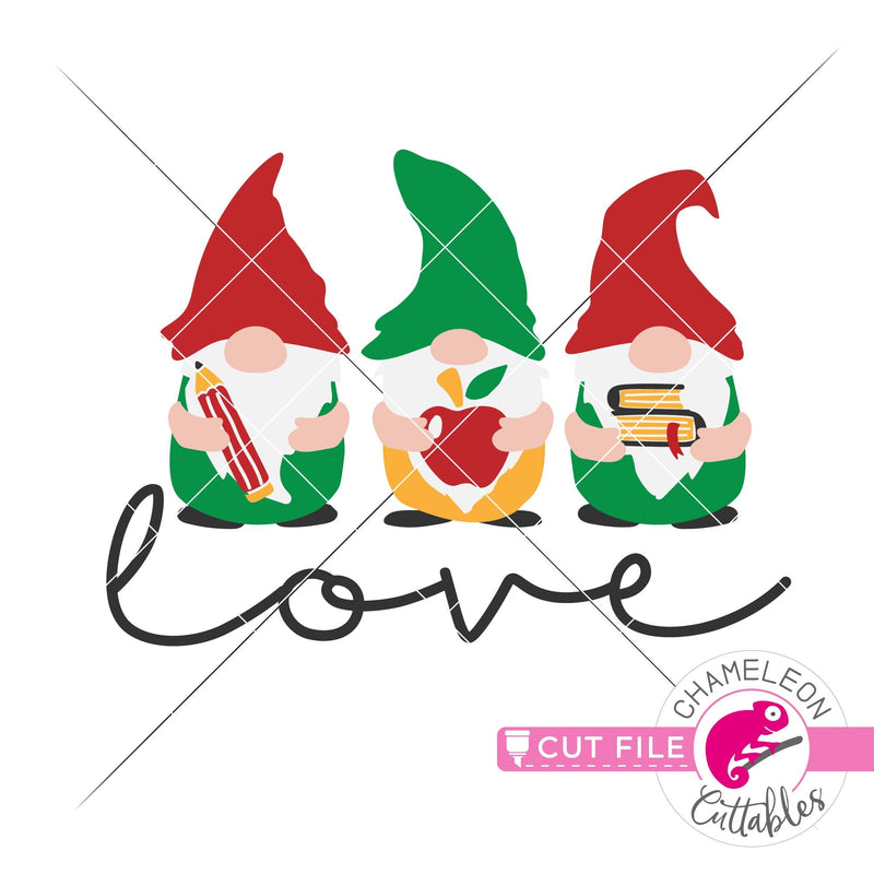 Love School Gnomes for Teacher svg png dxf eps jpeg SVG DXF PNG Cutting File
