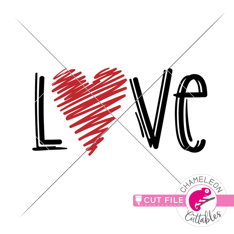 Love Sketch Heart Drawing Valentines day svg png dxf eps jpeg SVG DXF PNG Cutting File