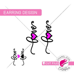 Love Valentines Day Earring Template svg png dxf eps SVG DXF PNG Cutting File