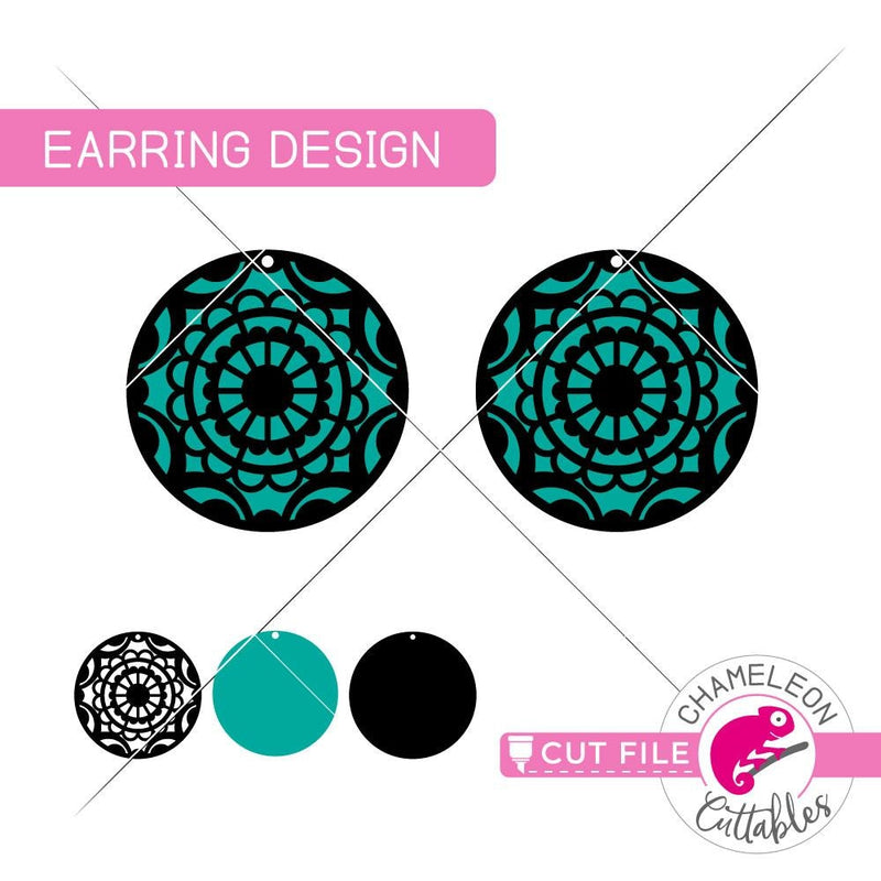 Mandala Circle Earring Template svg png dxf eps SVG DXF PNG Cutting File