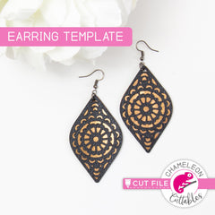 Mandala Leaf Earring Template svg png dxf eps SVG DXF PNG Cutting File