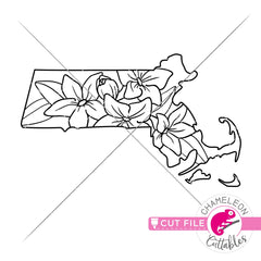 Massachusetts state flower mayflower outline svg png dxf eps jpeg SVG DXF PNG Cutting File