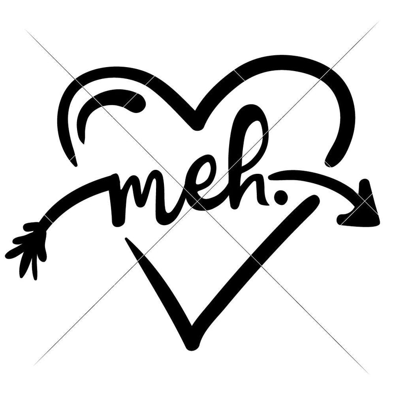 Meh Heart Anti-Valentines Day svg png dxf eps SVG DXF PNG Cutting File