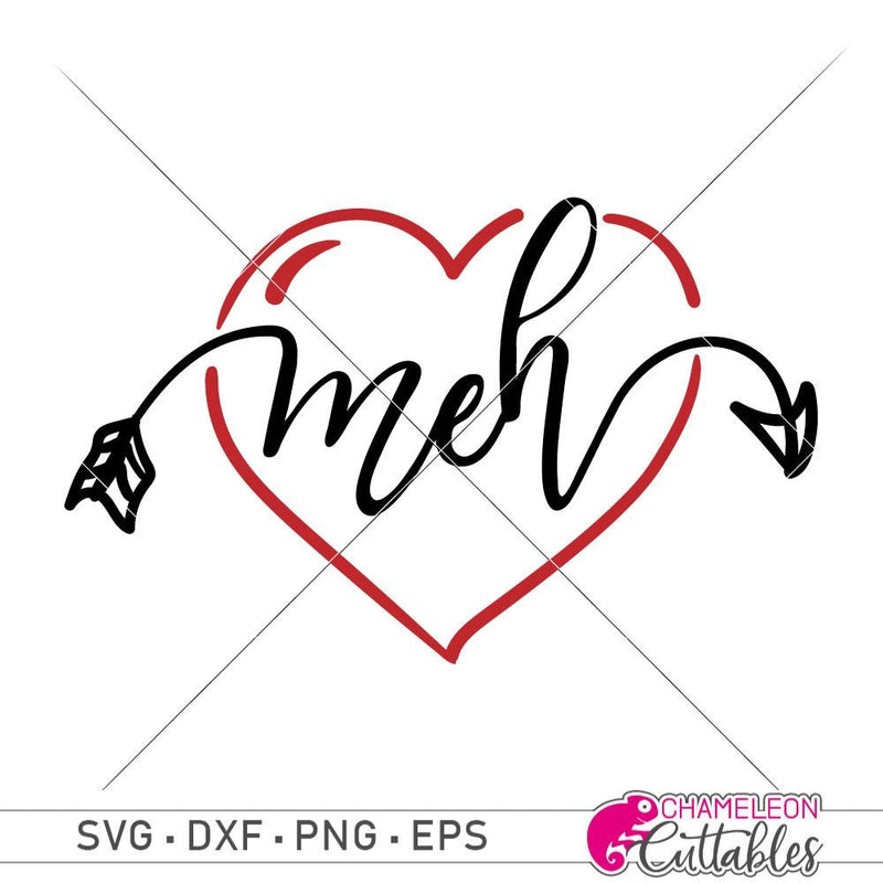 Meh Heart svg png dxf eps SVG DXF PNG Cutting File