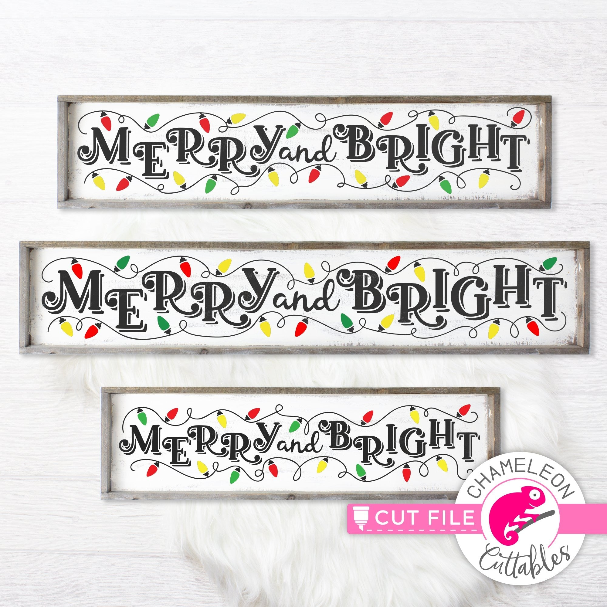 Merry And Bright Christmas Lights Horizontal Svg Png Dxf Chameleon Cuttables Llc