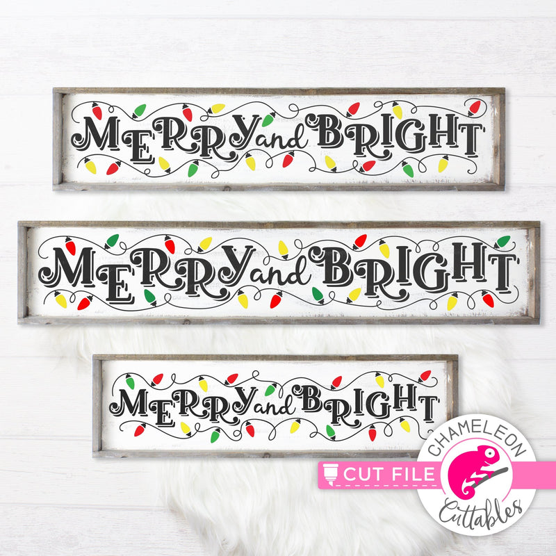 Merry and Bright Christmas Lights horizontal svg png dxf SVG DXF PNG Cutting File