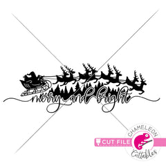 Merry and bright Santa horizontal svg png dxf eps jpeg SVG DXF PNG Cutting File