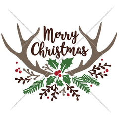 Merry Christmas Antlers With Fir And Mistletoe Svg Png Dxf Eps Svg Dxf Png Cutting File