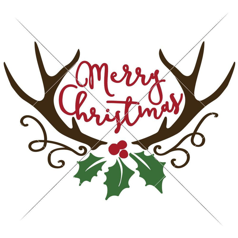 Merry Christmas Antlers With Mistletoe Svg Png Dxf Eps Svg Dxf Png Cutting File