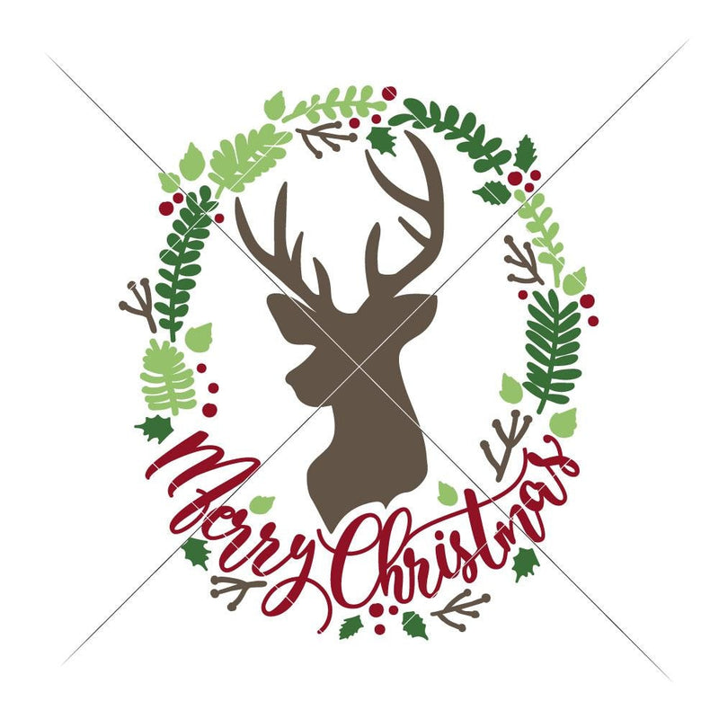 Merry Christmas Deer Wreath Svg Png Dxf Eps Svg Dxf Png Cutting File
