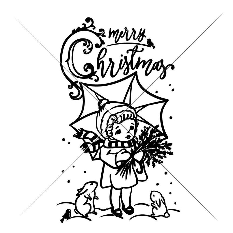 Merry Christmas Girl With Umbrella Svg Png Dxf Eps Svg Dxf Png Cutting File