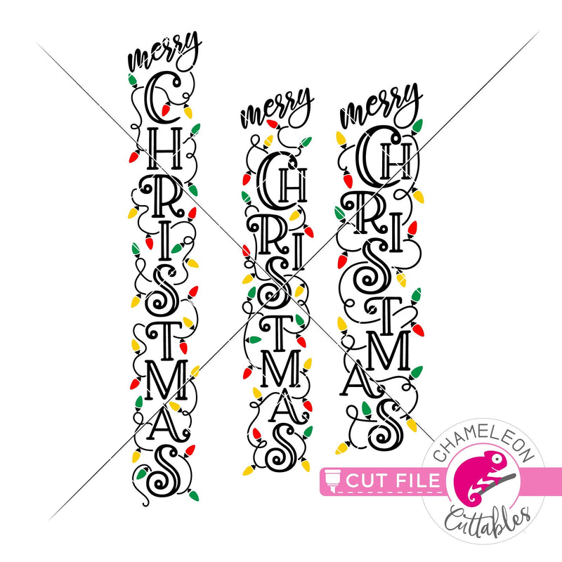 Merry Christmas lights vertical svg png dxf SVG DXF PNG Cutting File