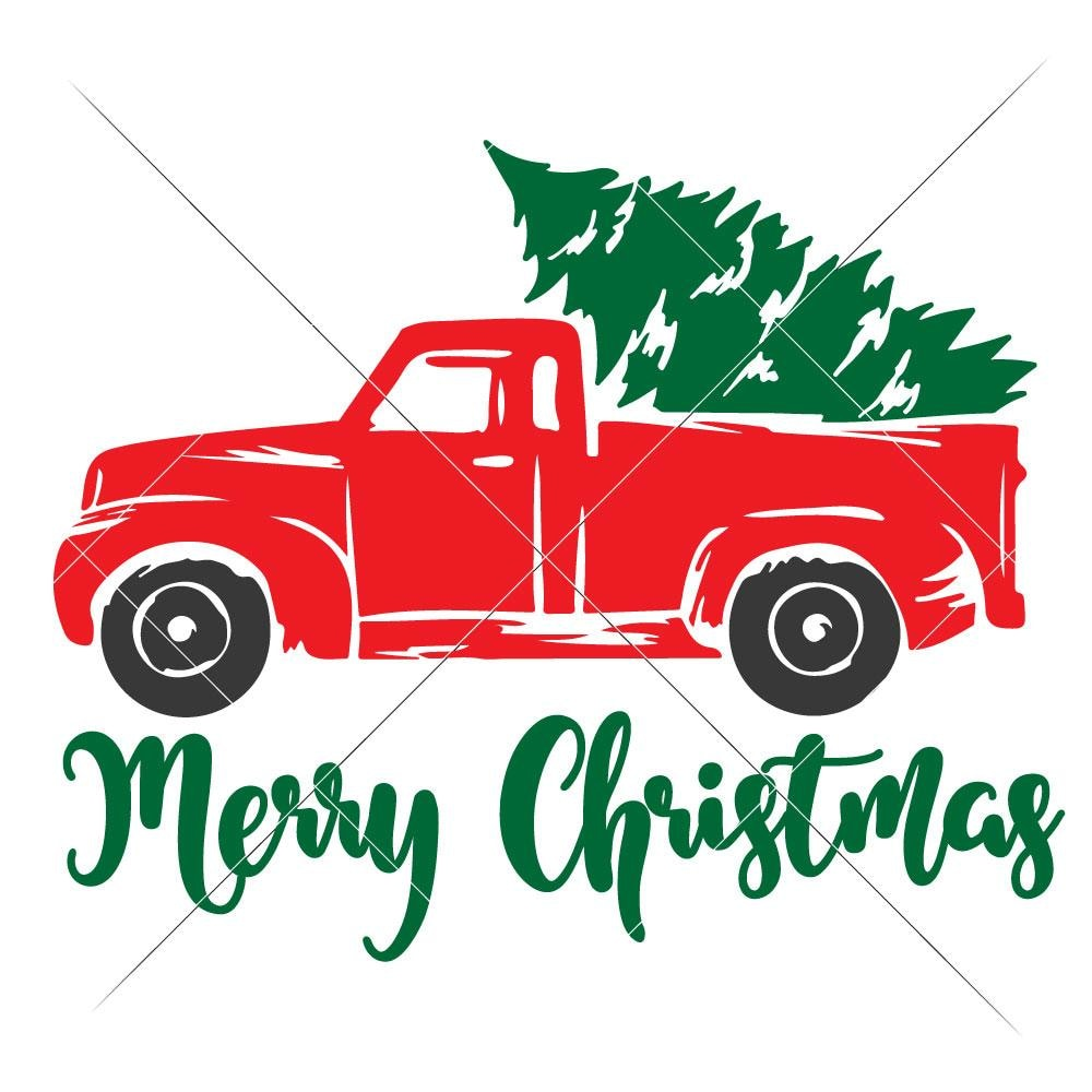 Christmas Red Truck.Merry Christmas Red Truck With Tree Svg Png Dxf Eps