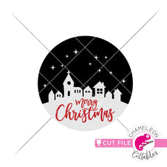 Merry Christmas town for round sign svg png dxf eps jpeg SVG DXF PNG Cutting File