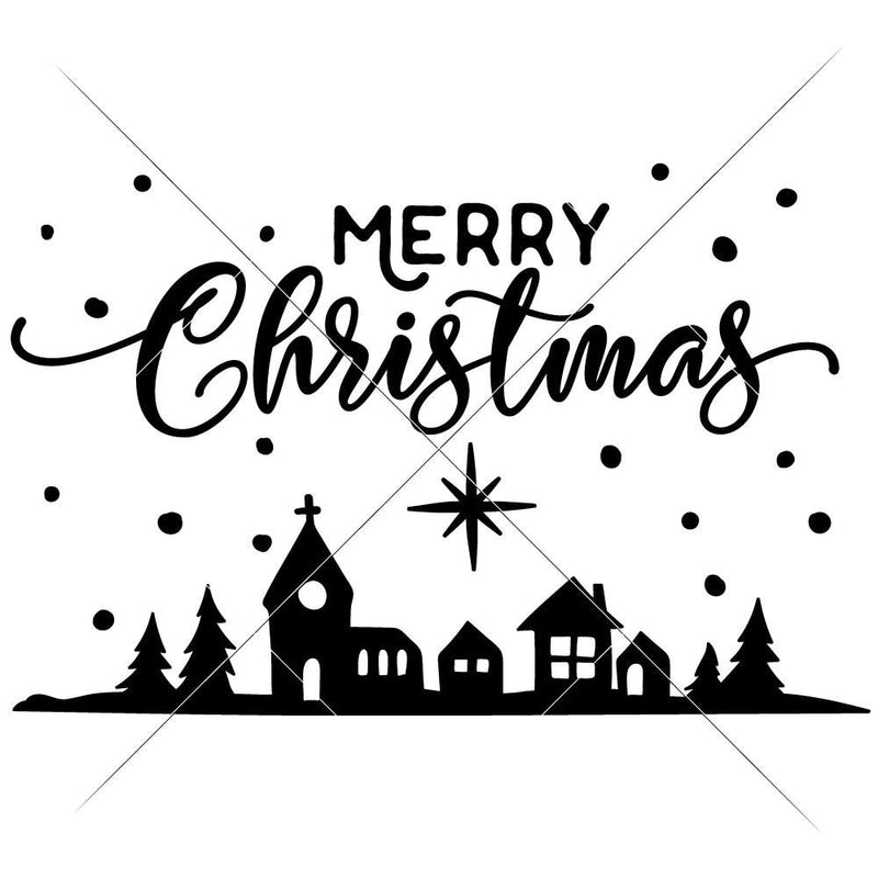 Merry Christmas Town Svg Png Dxf Eps Svg Dxf Png Cutting File