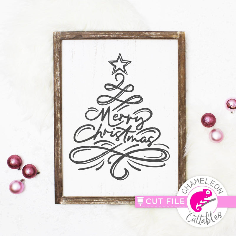 Merry Christmas Tree Sketch svg png dxf eps jpeg SVG DXF PNG Cutting File