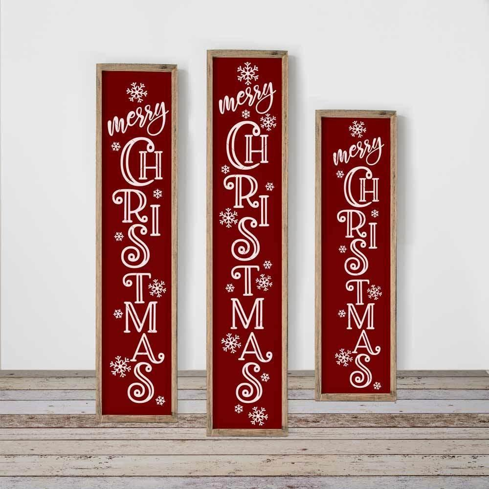 Merry Christmas Vertical Porch Sign Svg Png Dxf Eps Chameleon Cuttables Llc