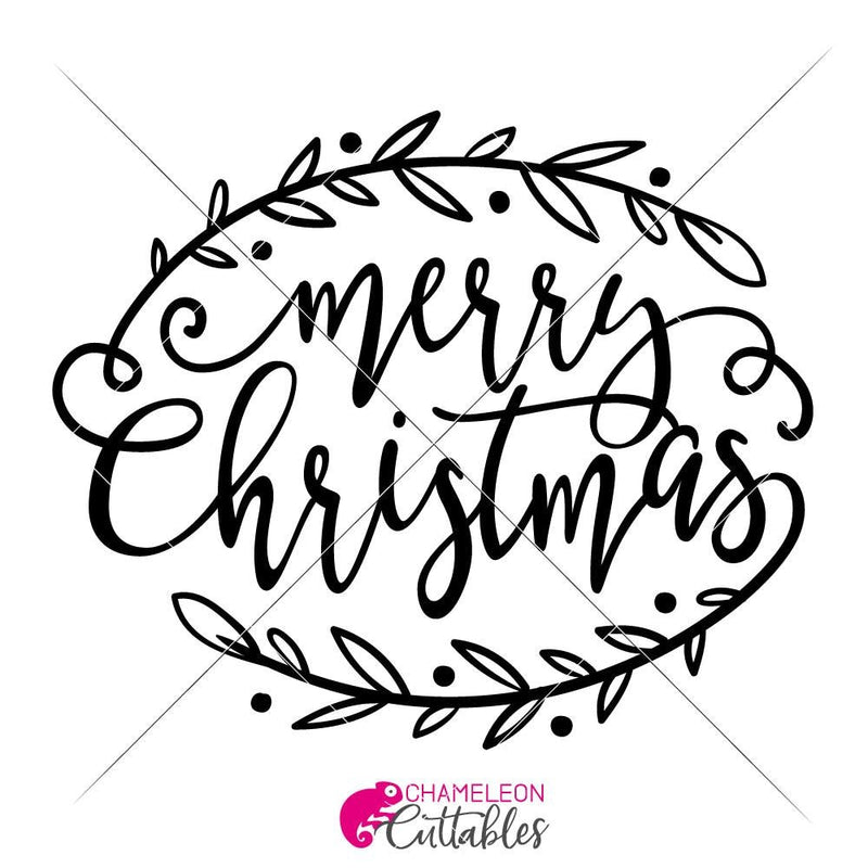 Merry Christmas With Branches Svg Png Dxf Eps Svg Dxf Png Cutting File