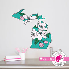 Michigan state flower apple blossom layered svg png dxf eps jpeg SVG DXF PNG Cutting File