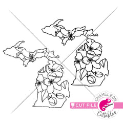 Michigan state flower apple blossom outline svg png dxf eps jpeg SVG DXF PNG Cutting File