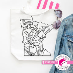 Minnesota state flower lady slipper outline svg png dxf eps jpeg SVG DXF PNG Cutting File