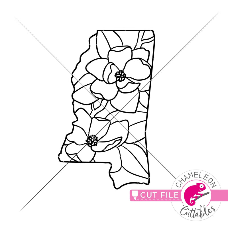 Mississippi state flower magnolia outline svg png dxf eps jpeg SVG DXF PNG Cutting File