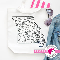 Missouri state flower hawthorn outline svg png dxf eps jpeg SVG DXF PNG Cutting File
