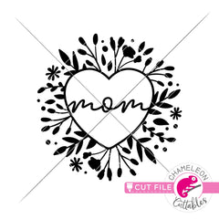 Mom Heart with Flowers svg png dxf eps jpeg SVG DXF PNG Cutting File