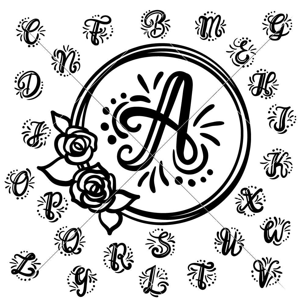 Monogram Initials with floral Wreath svg png dxf