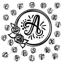 Monogram Initials with floral Wreath svg png dxf SVG DXF PNG Cutting File