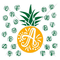 Monogram Initials with Pineapple svg png dxf SVG DXF PNG Cutting File